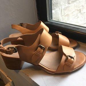 Madewell Mariel leather buckle heeled sandals